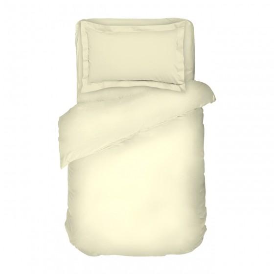 Единичен размер едноцветно спално бельо в екрю от Памучен Сатен
