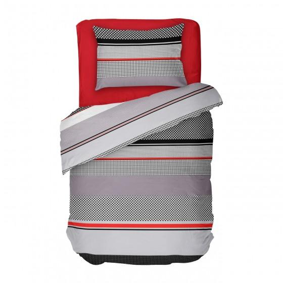 Единичен Размер Спално Бельо в Черно, Червено и Сиво, Стилно Спално Бельо Грид, за Спалня
