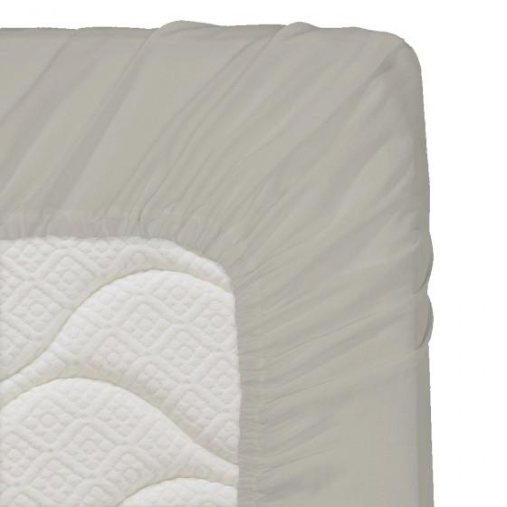 60/120/16 см., бебешки чаршаф с ластик ранфорс - светло сиво