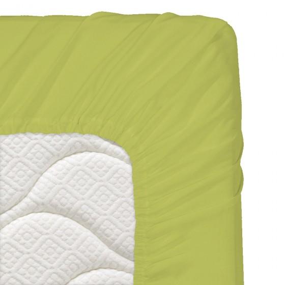 200/200/20 см., чаршаф с ластик ранфорс - зелено