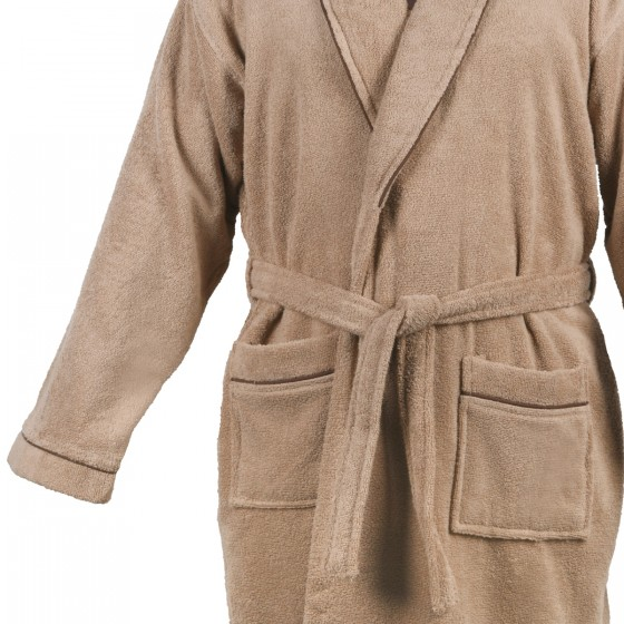 Мек халат за баня в бежово ХАВАНА, размер S/M