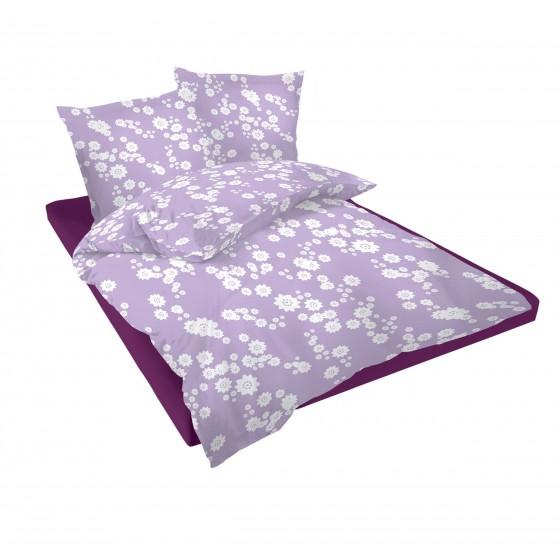 Лилаво Спално Бельо на Цветя - Лилана 2, двоен размер с два спални плика, 100% памук Ранфорс