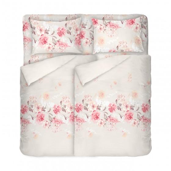 Романтично Спално Бельо на Рози ТАНЕА, Цветя върху Фон Екрю, за Спалня с Два Плика, 100% Памук