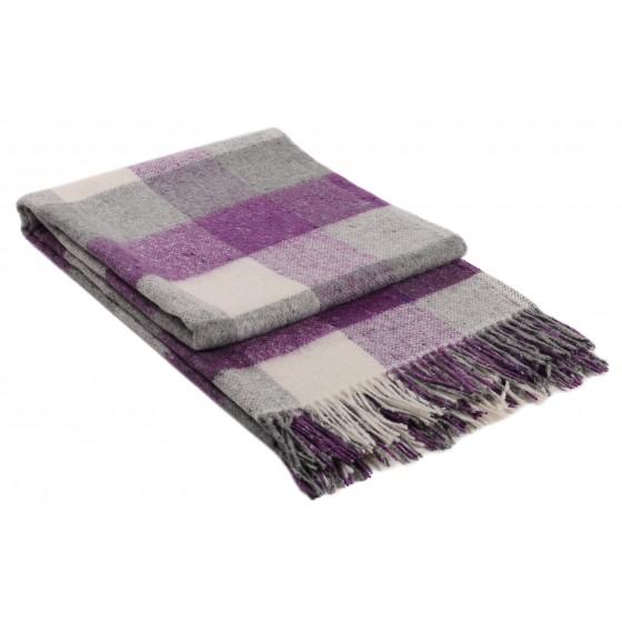 Лилаво одеяло с вълна, на квадрати - ПАЛЕРМО, размер 140/200 см