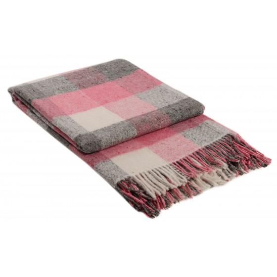 Розово одеяло с вълна, на квадрати - ПАЛЕРМО, размер 140/200 см
