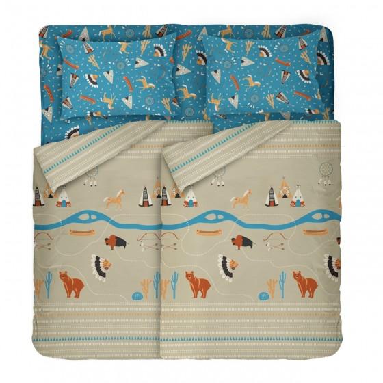 Спално Бельо DILIOS за Спалня, Десен за Момчета Синьо и Бежово - Индианско Село, Два Плика