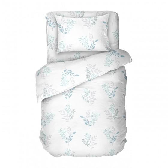 Бяло Спално Бельо на Цветя Виктория Бяла 2,В единичен размер с Високо Качество на Материята, 100% Памук Ранфорс