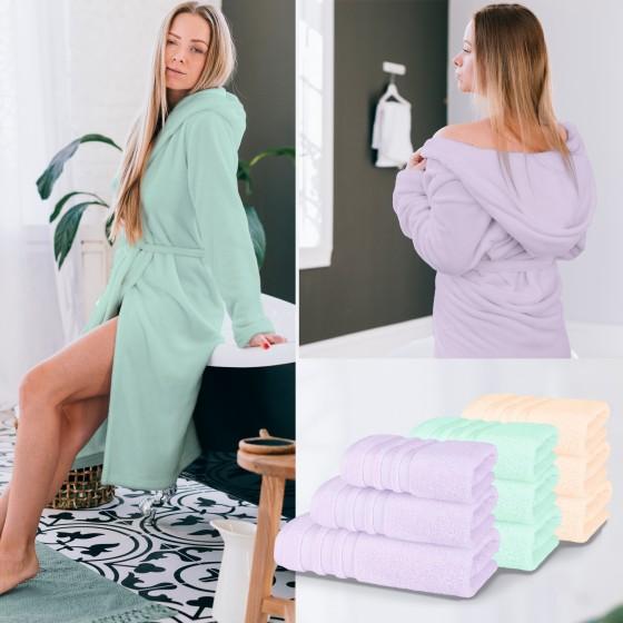 Колекция хавлиени кърпи и халати Пастел