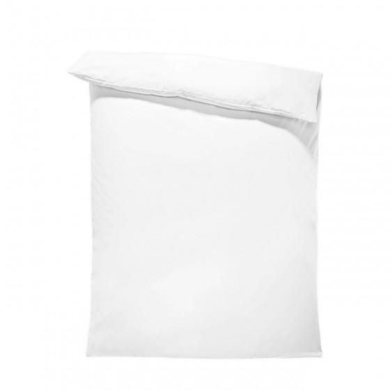 Едноцветен спален плик в бяло, материя ранфорс, размер 150/215 см