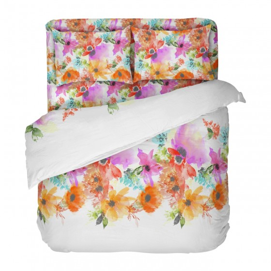 Бяло Спално Бельо на Цветя, в Двоен Размер с Един Плик СЪМЪР, Цветно Спално Бельо, 100% Памук, за Спалня
