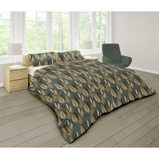 Качествено Спално Бельо за Спалня с Два Плика в Зелено, с Кафяви и Черни шарки -  Киара, Материя Ранфорс, 100% Памук
