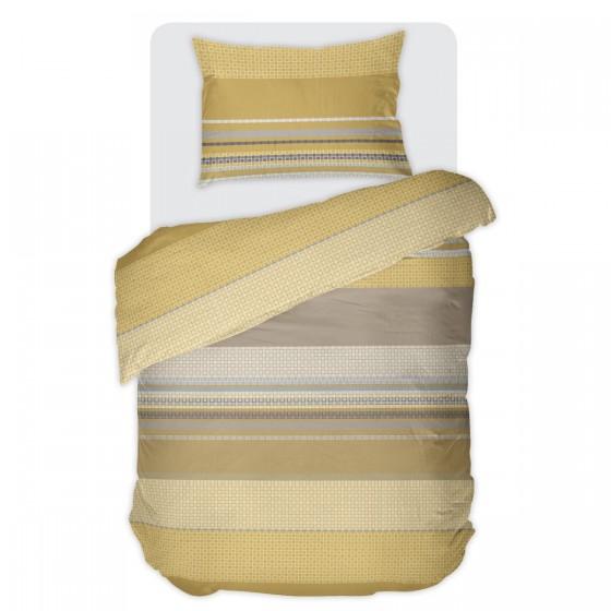 Спално бельо в цвят Горчица ЛИОН, Единичен Размер Без Долен Чаршаф, 100% памук ранфорс