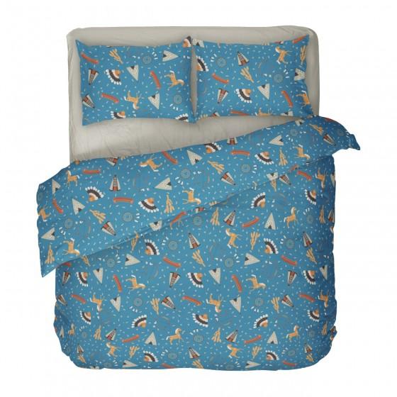 Синьо Спално Бельо за Момчета, Индиански Мотиви - Индианско Село 2, Качество и Комфорт за Вашето Дете, DILIOS