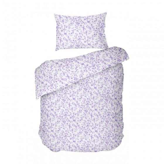 Единично Спално Бельо Цветя Лила, Без Долен Чаршаф,100% Памук, Нестандартни Размери