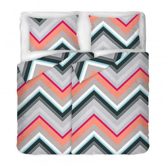 СПАЛНО БЕЛЬО с геометрични шарки Зиго, двоен размер с два спални плика, 100% памук ранфорс