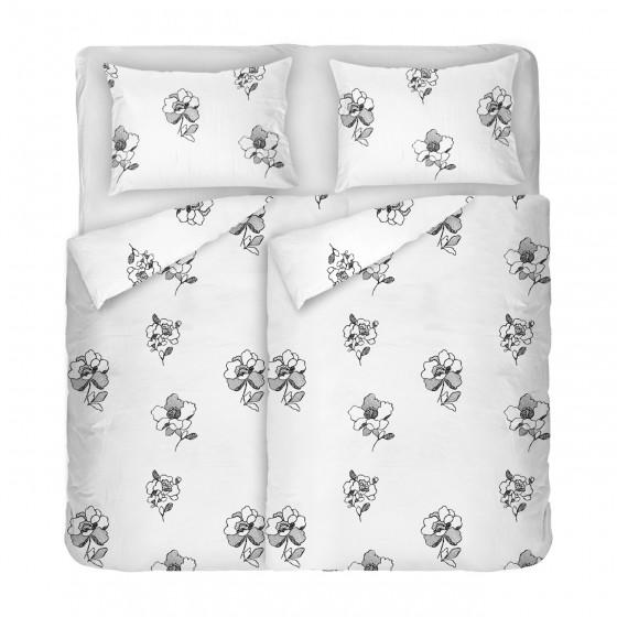 Спално Бельо от Памучен Сатен Дантела 2, Сиви Цветя на бяла Основа, В Двоен Размер с Два Плика, Семпъл дизайн