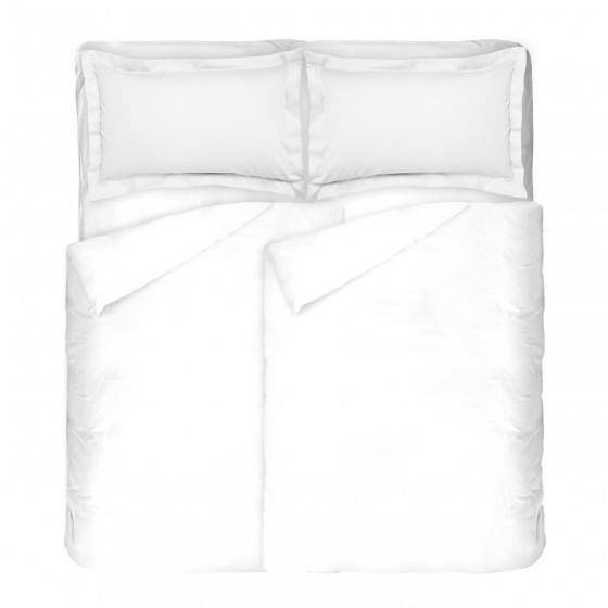 Изчистено и едноцветно спално бельо в бяло, Двоен размер с два спални плика, 100% памучен сатен