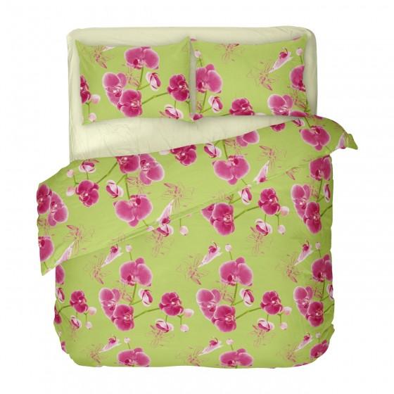 Спално бельо в двоен размер с един плик от 100% сатениран памук ЗЕЛЕНА ОРХИДЕЯ 2