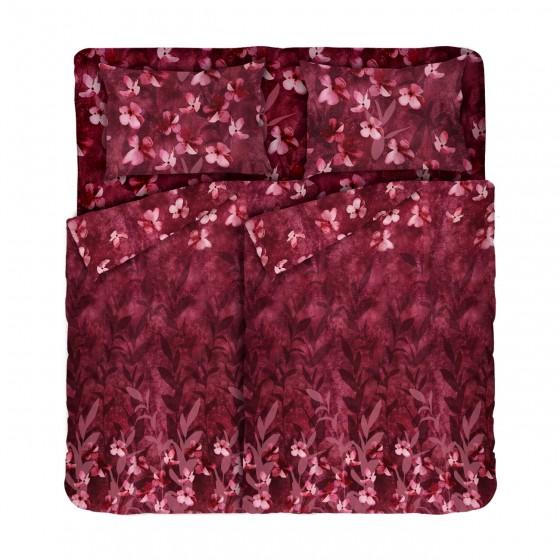 Оригинално Спално Бельо Ранфорс, Двоен Размер с Два Плика в Бордо, Спално Бельо на Цветя Бохемия, 100% Памук