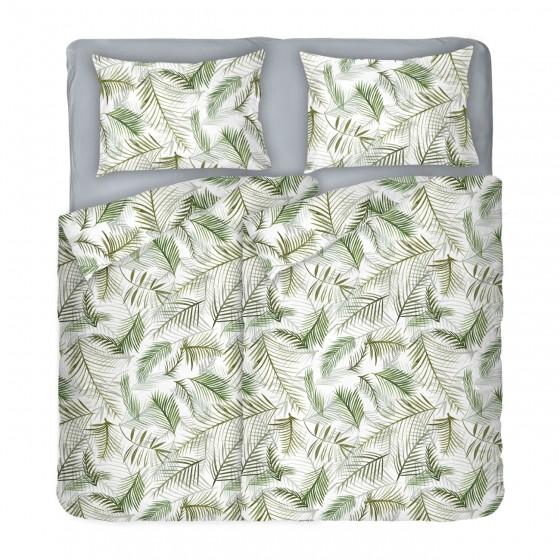 Модерно Спално Бельо в бяло на палмови листа Тропикана, двоен размер с два спални плика, 100% памук ранфорс