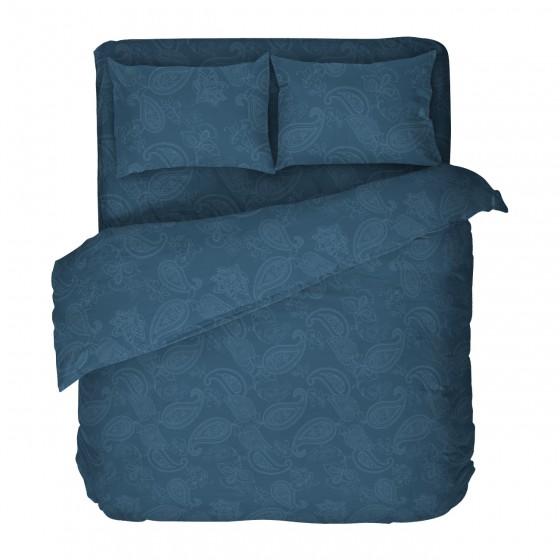 Спално Бельо от 100% Памук за Спалня с Един Плик, Олимпия 2,Етно Спално Бельо Синьо-Зелено
