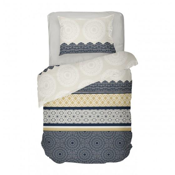 Единично Спално бельо Ранфорс в Тъмно синьо и екрю АМИРА, Фигурални Мотиви, 100% памук ранфорс