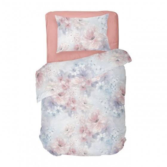 Нежно Спално Бельо АНАБЕЛ в Единичен Размер, Пастелни тонове, Дизайн на Цветя, 100% памук