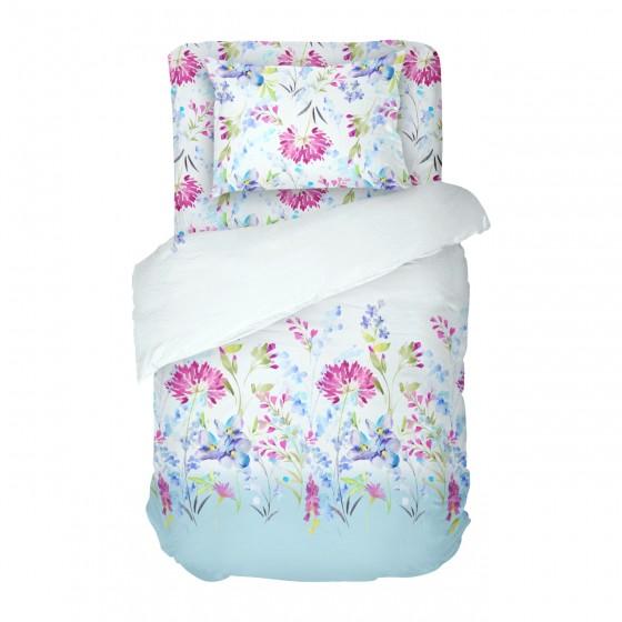 Единичен Размер Бяло Спално Бельо на Цветя Април, В ярки и красиви цветове, 100% Памук, DILIOS
