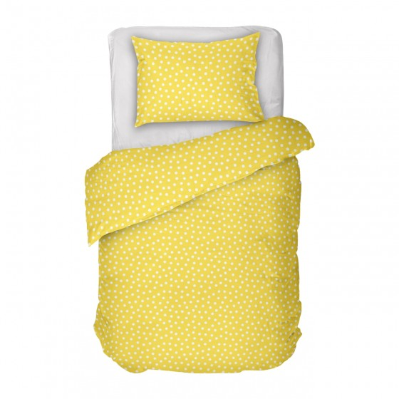 Спално Бельо Ранфорс, Дилиос, Жълто на Бели Точки, Кресида 2, за Единично Легло