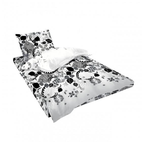 Бяло Спално Бельо на Цветя Естела, единичен размер, 100% памук Ранфорс, стилизиран дизайн