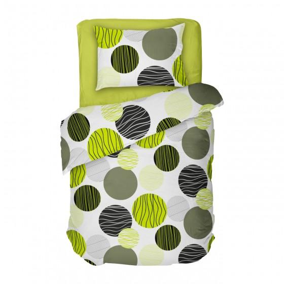 Спално бельо фреш на зелени и черни кръгове върху бял фон, В Единичен Размер, Високо качество на материята, 100% Памук