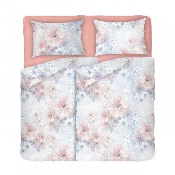 Нежно Спално Бельо АНАБЕЛ в Размер за Спалня с Два Плика, Пастелни тонове, Дизайн на Цветя, 100% памук