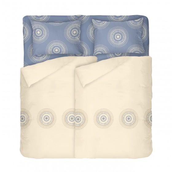 Двоен размер спално бельо в екрю и синьо - КАЗА, С два спални плика, Семпъл дизайн в приятни цветове, 100% памук Ранфорс