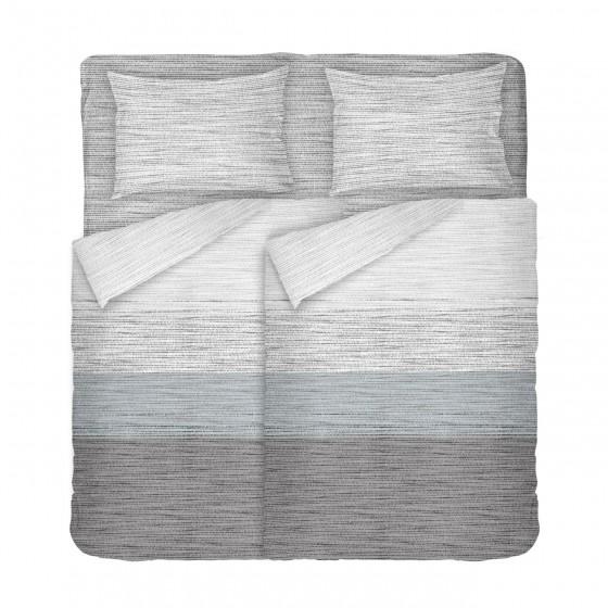 Спално Бельо в Сиво и Синьо със Семпъл Дизайн Мист, В Двоен Размер с Два Плика, материя Ранфорс, 100% Памук