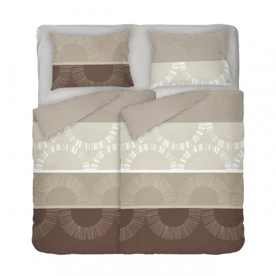 Двоен Размер Спално Бельо с Два Плика, в кафявата гама Мокачино, Спално Бельо с Фигурални Мотиви, Материя Ранфорс