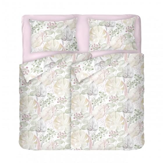 Качествено спално Бельо от Ранфорс Роузмари, В Двоен Размер с Два Плика, Флорални Мотиви в Пастелни Цветове