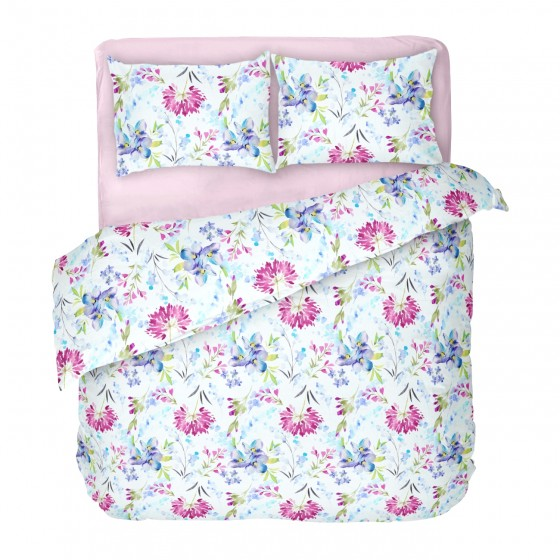 Красиво Спално Бельо Ранфорс в Двоен Размер с Един Плик април 2, Спално Бельо в бяло на Цветя, DILIOS, 100% Памук