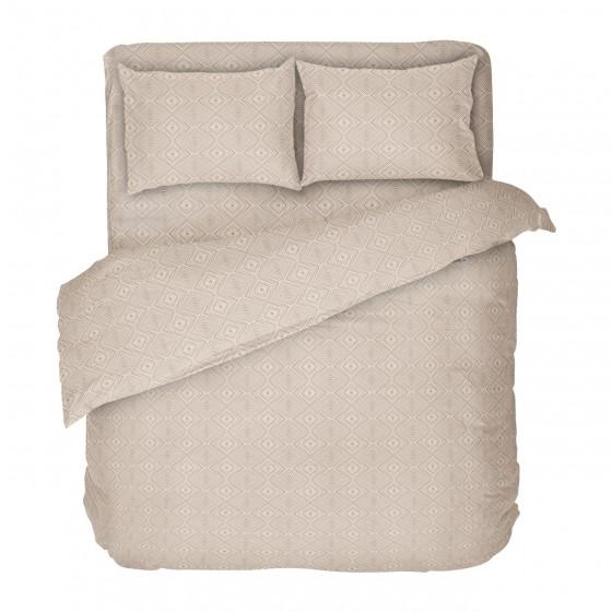 Качествено спално бельо в бежово - Кафе 2, Фигурален десен на ромбове, Размер за спалня с двоен плик