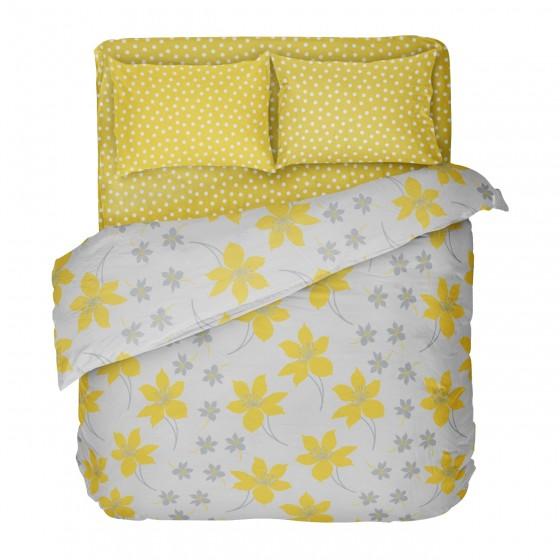 Двоен Размер Спално Бельо в Жълто и Сиво С един Плик, КРЕСИДА, Жълти Цветя, Калъфка на Точки, за Спалня
