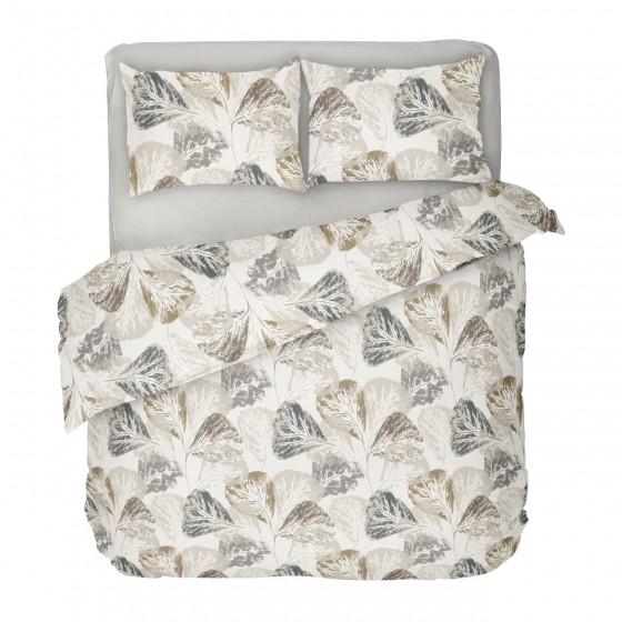 Двоен Размер Спално Бельо Елизабет в Екрю на Листа, С Един Спален Плик, Красив Есенен Дизайн, 100% Памук