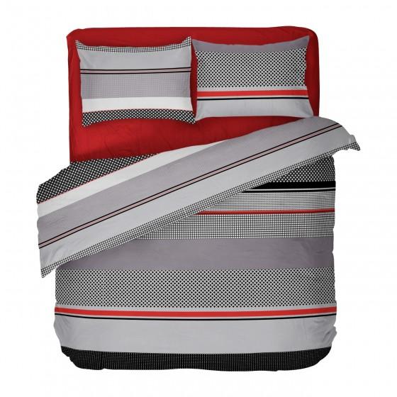 Двоен Размер Спално Бельо в Черно, Червено и Сиво, с Един Плик, Стилно Спално Бельо Грид, за Спалня