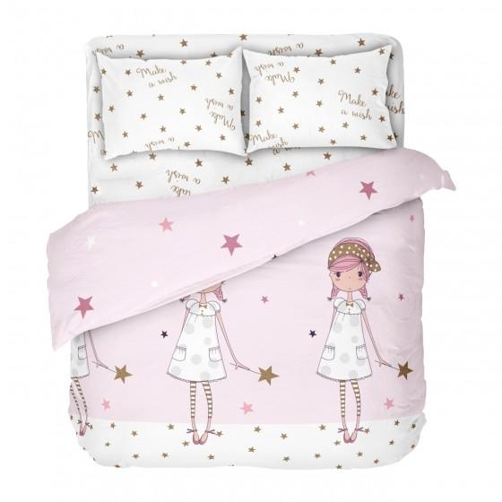 двоен размер ДЕТСКО СПАЛНО БЕЛЬО ЖЕЛАНИЕ, в розово и бяло, с двоен спален плик