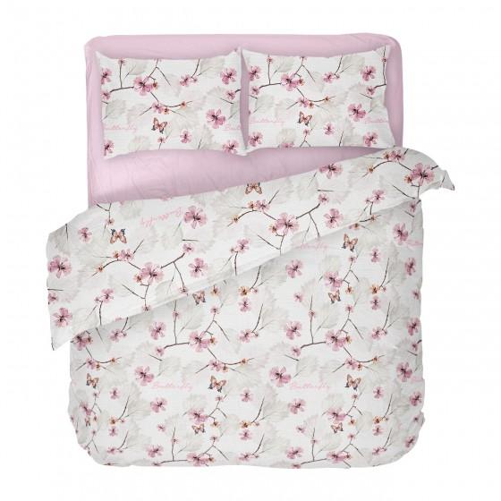 Красиво и Качествено Спално Бельо на пеперуди и цветя МАРИ 2, Двоен размер за спалня с един плик, Качество Ранфорс