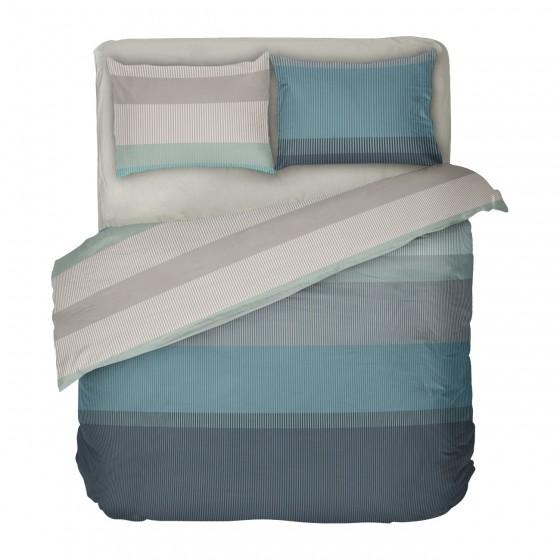 Спално бельо в тюркоазено и сиво на геометрични фигури Нептун, двоен размер с един спален плик, 100% памук ранфорс