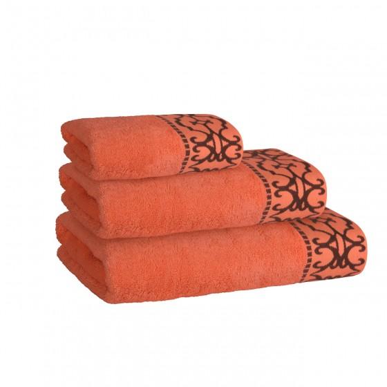 Луксозна Хавлиена Кърпа в Оранжево с Красив Борд - Терра, Плътна и Мека, 50/90 см.