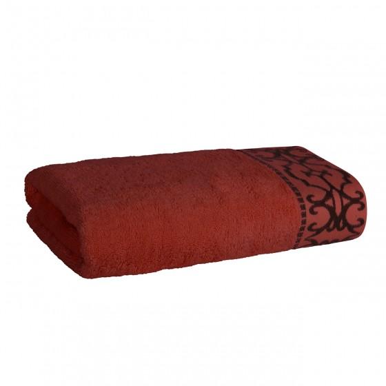 Луксозна Хавлиена Кърпа в Цвят Теракота с Красив Борд - Терра, Плътна и Мека, 70/140 см.
