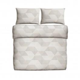 Спално бельо в беж и сиво на геометрични фигури - Арлет, двоен нестандартен размер, без долен чаршаф