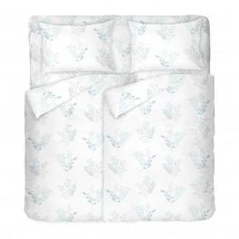 Бяло Спално Бельо на Цветя Виктория Бяла 2, Размер за Спалня с Два Плика, Високо Качество на Материята, 100% Памук Ранфорс