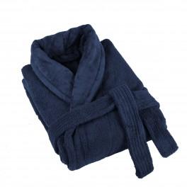 Плътен халат за баня в синьо - ДЕНИМ, размер S/M, 100% памук - велур