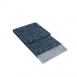 Синьо Одеяло с Вълна - Тексас, Меланж синьо с Ресни, 140/200 см.